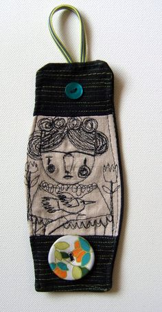 Frida Embroidery Art Cuff I have wings to fly Done in soft linen and soft black canvas. The cuff features flower beautiful bu. Fabric Bracelets, Handmade Bracelets, Handmade Jewelry, Jewelry Crafts, Jewelry Art, Jewelry Design, Textile Jewelry, Fabric Jewelry, Fabric Art
