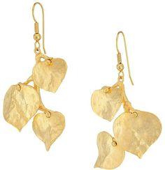 Kenneth Jay Lane Satin Gold 3 Leaf Fish Hook Earrings Earring