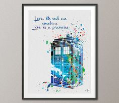 Tardis from Dr Who Love Quote Watercolor Painting par CocoMilla