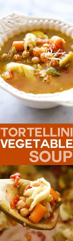 Tortellini Vegetable Soup... This is such a flavor packed meal loaded with fabulous vegetables and tortellini! This is such a fantastic line up of ingredients and will quickly soar to one of your new favorite soups of all time!