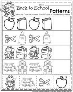 Preschool Back to School Worksheets - Cut and Paste Patterns. Back to School Preschool Worksheets with all kinds of great activities for preschoolers to use all year round. Counting, letter recognition and much more. Preschool Curriculum, Preschool Printables, Preschool Classroom, Preschool Learning, Kindergarten Worksheets, Preschool Activities, Vocabulary Activities, Camping Activities, Printable Worksheets