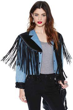 Vintage Fringe Away Denim Jacket