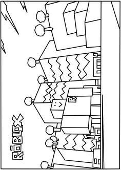 A printable Neighborhood of Robloxia coloring page
