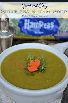 Split pea and ham soup, so easy to make and taste great. Made with dry peas, low cost meal idea. Hurst's Hampeas Pea And Ham Soup, Split Pea Ham Soup, Pea Soup, Bean Recipes, Crockpot Recipes, Soup Recipes, Cooking Recipes, Delicious Recipes, Recipe For Mom