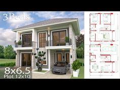 Home design plan with 4 bedrooms. Two-story house Modern Contemporary style Lay out the building layout So that every room can ventilate well. Narrow House Plans, Modern House Plans, House Floor Plans, Simple House Design, Modern House Design, Plantas Duplex, Building Layout, Architectural House Plans, Bedroom House Plans