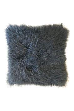 "Black Tibetan sheep skin pillow. Soft, comfortable and durable.    Measures 20 x 20"".   Tibetan Sheep Pillow by The Birch Tree Furniture. Home & Gifts - Home Decor - Pillows & Throws Ohio"