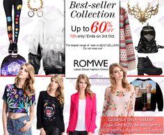 Apenas 72 horas de PROMOÇÃO Best-seller #Romwe. Peças com até 60% de desconto - Apenas 72 horas!  Unfold your free style with Romwe items.  Best-seller Collection! Up to 60% off Do not miss! 72h only!