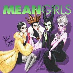 Cruella De Vil [as Gretchen], Evil Queen Grimhilde [as Regina], Maleficent [as Cady] & Ursula [as Karen] (As Movie Stars by Guillermo_Meraz Disney Pixar, Walt Disney, Disney And Dreamworks, Disney Love, Disney Magic, Disney Art, Disney Characters, Evil Queen Disney, Disney Villains Funny