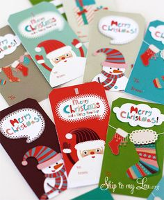 Sweet stockings, snowmen and Santa Clauses. | 24 Adorable Free Gift Tags You Can Print Right Now