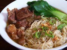 Beef brisket and baby Shanghai bok choy with egg noodles