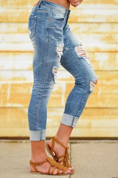 MACHINE Distressed Crop Skinny Jeans - Ashli Wash from Closet Candy Boutique