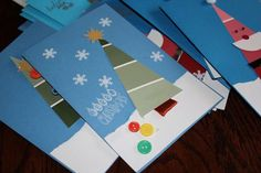 Paint chip Christmas tree card with the ornaments not quite on it, just yet.