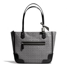 Coach Poppy Small Tote In Signature C Metallic Outline Fabric (250 AUD) ❤ liked on Polyvore featuring bags, handbags, tote bags, pattern tote bag, coach handbags, coach purses, coach tote bags und zip top tote