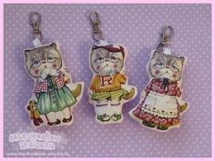 Cute cat textile keychains mori girl cult party by MarshmallowShop, $9.00