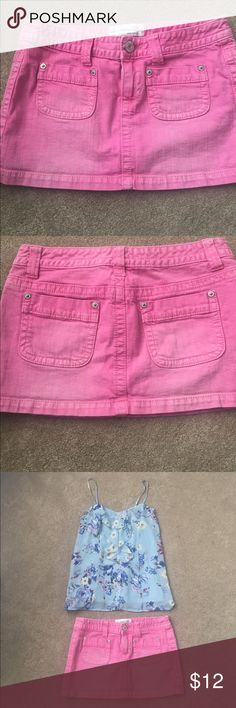 """Aeropostale pink jean mini skirt Aeropostale pink jean mini skirt. Very good condition. Has an original light distressed / faded style. Really cute. Front and back pockets.  Button & zipper closure.  Lay flat measurements: waist 16"""", hip 18.5"""", length 12"""" (has slight stretch) Aeropostale Skirts Mini"""