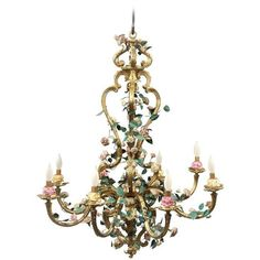Late 19th Century Gilt Bronze and French Porcelain Chandelier ❤ liked on Polyvore featuring home, lighting, ceiling lights, porcelain lamps, pink flamingo lights, leaf lamp, bronze ceiling lights and flower stem