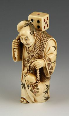 """19th C. Carved Japanese Netsuke - by Kaminski Auctions19th century carved Japanese netsuke, 4 1/2"""" h."""