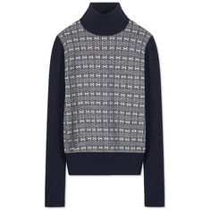 Tory Burch Sabino Turtleneck ($118) ❤ liked on Polyvore featuring tops, sweaters, turtleneck pullover, print pullover, graphic pullover sweater, patterned sweaters and polo neck sweater