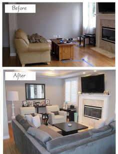 How To Efficiently Arrange The Furniture In A Small Living room - several before and after shots with room lay-out plans.: