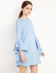 bddb1032f Blue Ruffled Bell Sleeve Babydoll Dress by New Revival ...