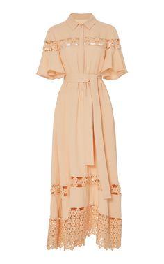 Lela Rose Lace Inset Flutter Sleeve Shirt Dress In Orange Simple Dresses, Elegant Dresses, Beautiful Dresses, Casual Dresses, Classy Dress, Classy Outfits, Dress Outfits, Fashion Dresses, Modest Fashion