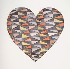 patterned heart - pencil drawing