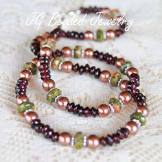 Garnet, Unakite and Pearl Necklace