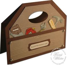 Woodgrain background stamp (117100), handle is made from punching the Large oval punch (107305), and the stamps come from the Totally Tool stamp set (113256). This is such a great Fathers Day card idea.