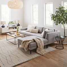 Likes, 270 Comments - West Elm Living Room Sectional, Modern Sectional, Home Living Room, Apartment Living, Living Room Designs, Living Room Decor, Reclining Sectional With Chaise, Deco Boheme, Casa Real