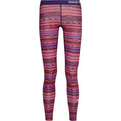 Nike Pro Warm 8 printed stretch-jersey leggings, Women's, Size: S ($76) ❤ liked on Polyvore featuring activewear, activewear pants, purple, nike sportswear, nike activewear pants, nike and nike activewear