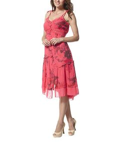 Another great find on #zulily! Red Floral Lace-Trim Button-Front Dress by Simply Couture #zulilyfinds