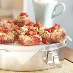 The combination of rhubarb and strawberries epitomizes springtime flavor. In this tender dessert, rolled oats add texture, and a ginger glaze finishes it off sweetly.