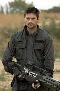 "For some reason Karl Urban + weapon always works for me. Saw him in Red at the movies, bolt upright and said ""His character is exactly how I wrote Troy!"" (from Hidden Heat)"