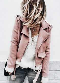 Modern Outfit Inspiration for Fall & Winter. Leather Jackets, Knit Jumper, Lace.