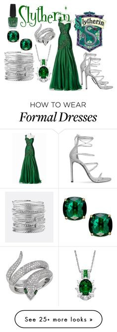 """Slytherin Yule Ball"" by aquatic-angel on Polyvore featuring Stuart Weitzman, OPI, Kate Spade, Effy Jewelry and Avenue"