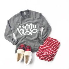 See this Instagram photo by @mindymaesmarket • 2,460 likes // comfs, comfy clothes, striped loungers, cute striped pants, graphic sweatshirt, plaid, plaid slippers, cozy, flatlay, outfit, christmas, holiday