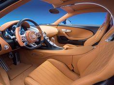Intérieur et tableau de bord tout cuir de la Bugatti Chiron