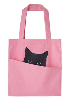 Got the cat in the bag! - pink jute bag.