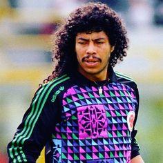 21 years ago today this man reinvented goalkeeping. Not a bad shirt either  #footballshirtcollective #renehiguita