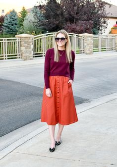 0190c1f3f91 Fall work outfit with rust midi skirt — Cotton Cashmere Cat Hair Midi Skirt  Outfit