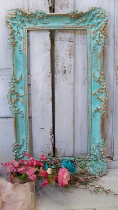 Large aqua blue frame ornate vintage accented gold shabby chic wall home decor Anita Spero