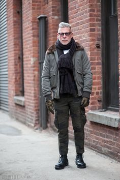 Nick Wooster, outside Ostwald Helgason, New York Fashion Week Fall 2014 Day Three