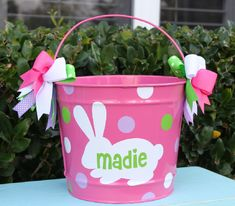 EASTER BUCKET PERSONALIZED by GameDayGirlsandGifts on Etsy, $32.00