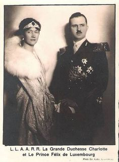 Grand Duchess Charlotte with her husband Prince Felix of Bourbon Parma