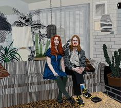 JONAS WOOD SEPTEMBER 12 - OCTOBER 19, 2013 Leslie and Michael, 2013  Oil and acrylic on canvas  80 x 90 inches  Courtesy Anton Kern Gallery,...