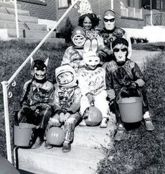 Halloween in 1950 --- when costumes AND treats were home-made and creative! And it was SAFE to go trick-or-treating with friends and no parents.