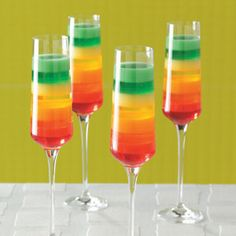 Is it possible to have a cocktail with colourful separate layers? I know some alcohols don't mix, but I've never seen any in colours of the rainbow.