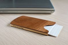 Handmade Wooden Business Card Holder Sapele by NoLogoDesigns
