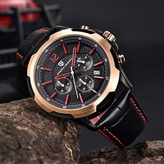 US $86.91 - Watch Men Genuine Leather Waterproof Chronograph Sport Men's Watches Military Quartz Wristwatch Clock Pagani Design reloj hombre