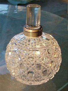 Sterling Silver Perfume Bottle Brilliant Cut Glass 1895 | eBay Perfume Ad, Antique Perfume Bottles, Glass Figurines, Bottle Art, Glass Collection, Fragrance Oil, Cut Glass, Glass Bottles, Bling Bedroom